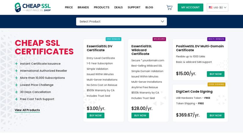 Cheap SSL Shop Landing Page