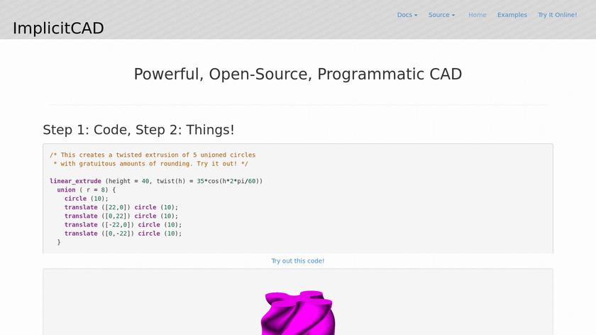 ImplicitCAD Landing Page