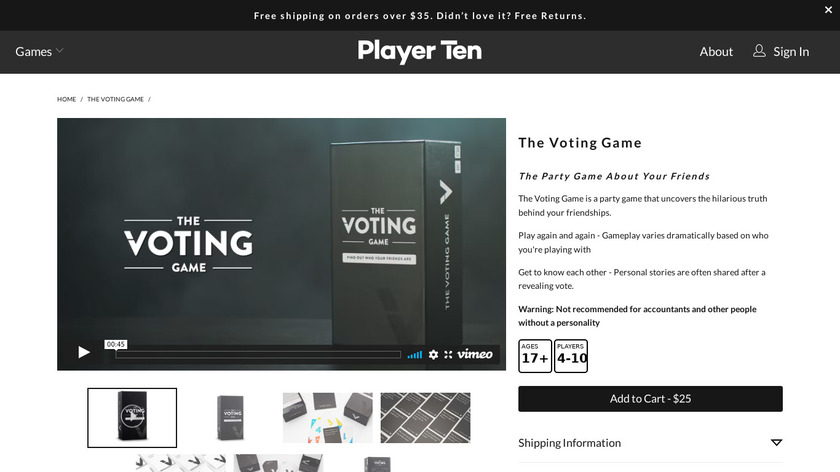 The Voting Game Landing Page
