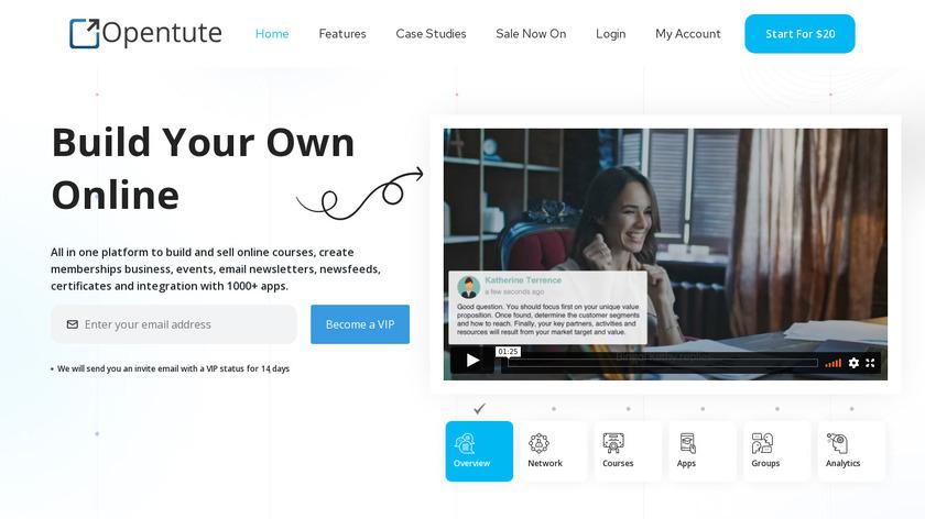 Opentute Landing Page
