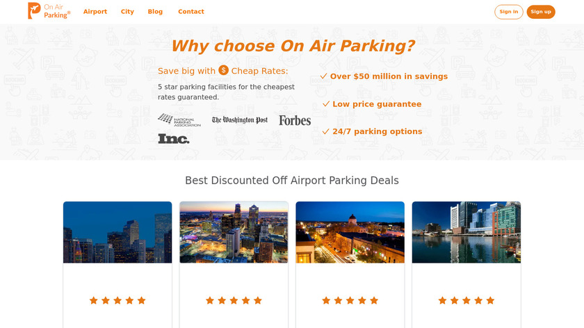 On Air Parking Landing Page