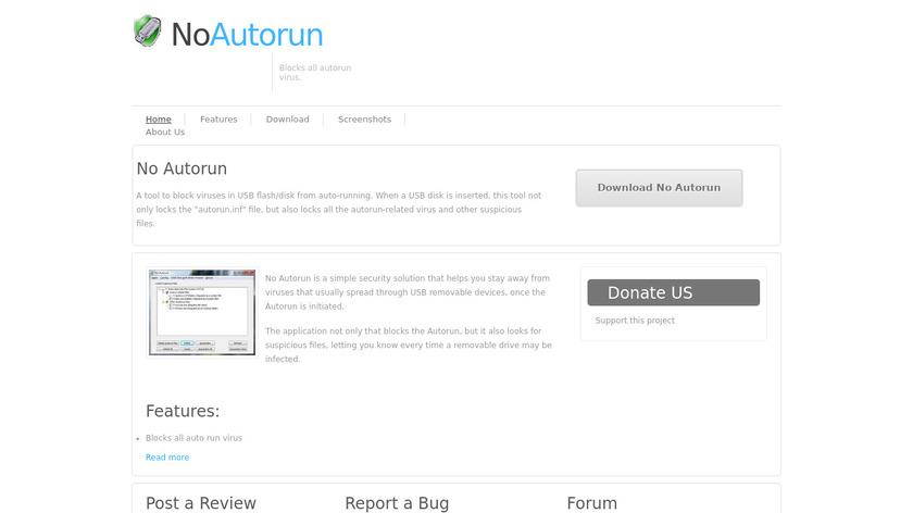 No Autorun Landing Page
