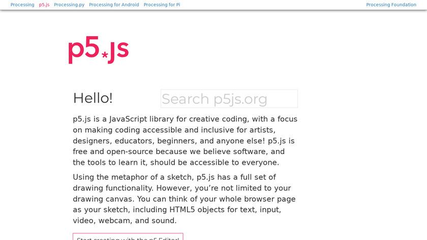 p5.js Landing Page