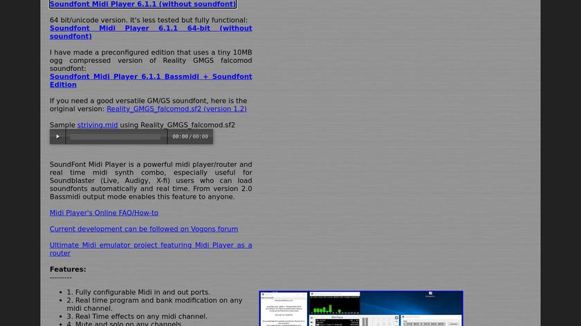 Soundfont Midi Player Landing Page