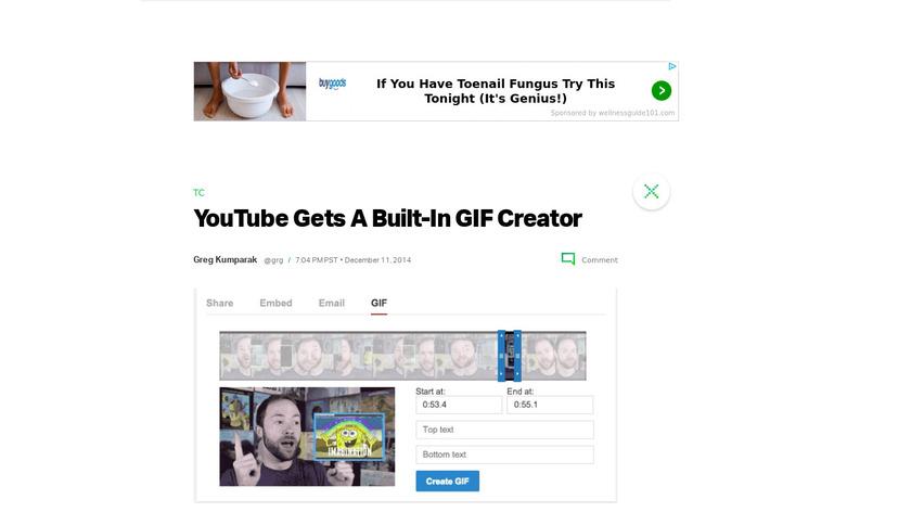 YouTube GIF Creator Landing Page