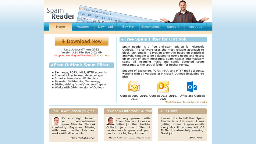 Spam Reader Landing Page