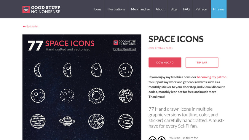 Space Icons Landing Page
