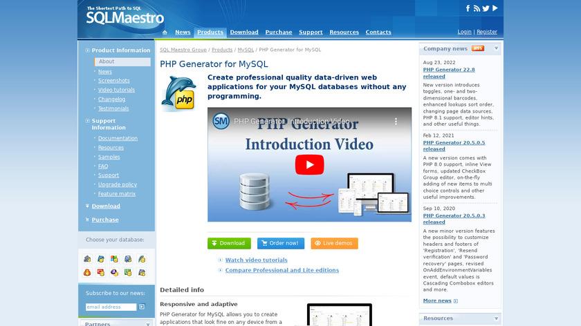 PHP Generator for MySQL Landing Page
