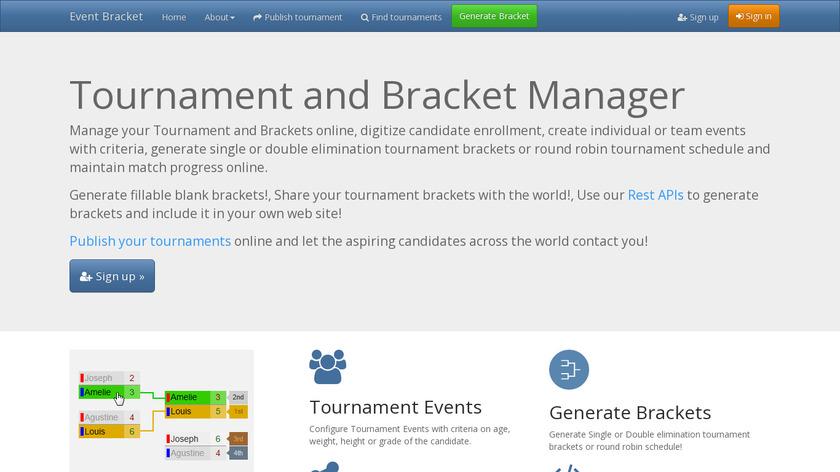 Event Bracket Landing Page