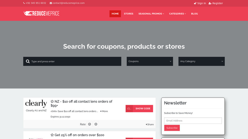 reducemeprice Landing Page