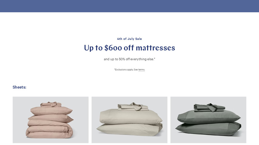 Casper Sheets and Pillows Landing Page