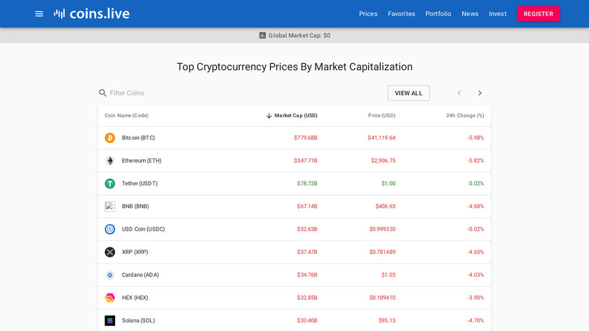 Coin.live Landing Page