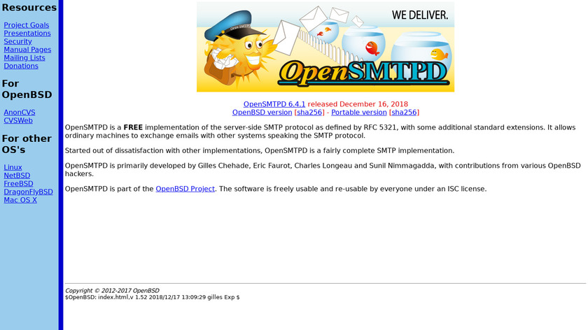 OpenSMTPD Landing Page