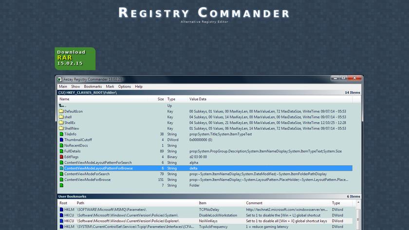 Registry Commander Landing Page