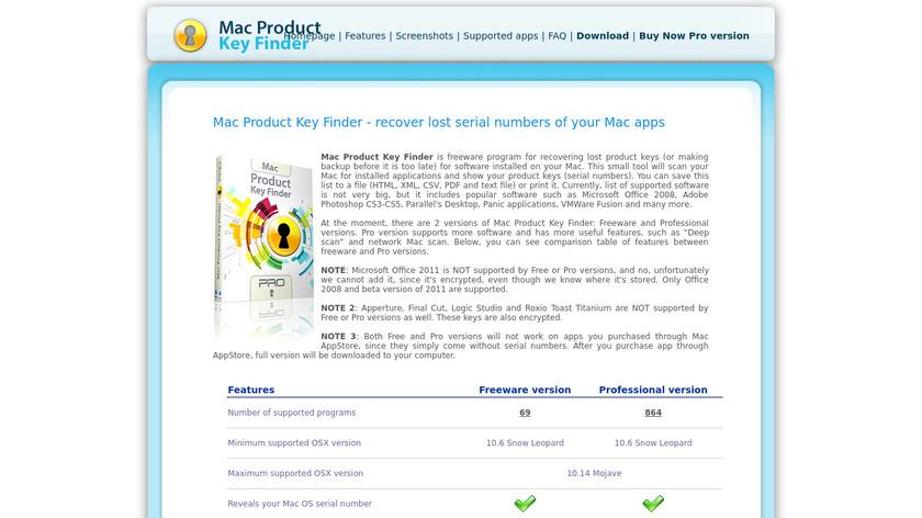 Mac Product Key Finder Landing Page