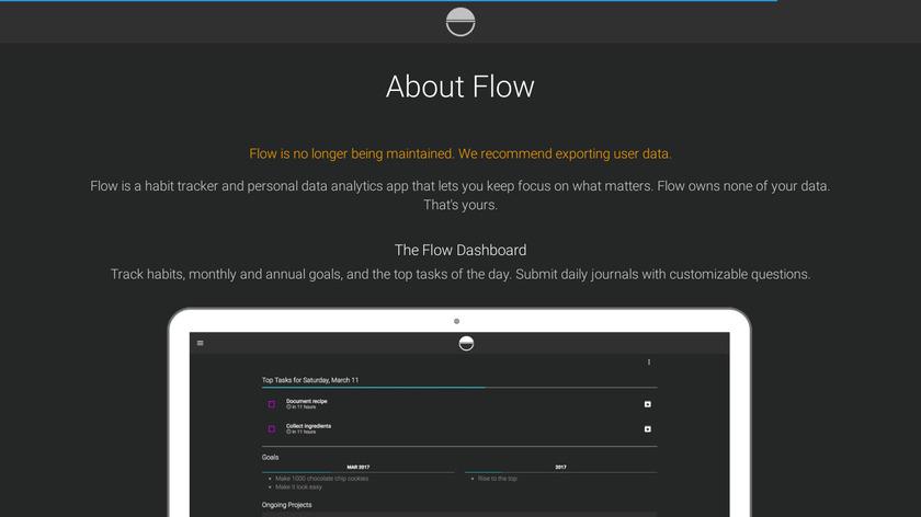 Flow Dashboard Landing Page