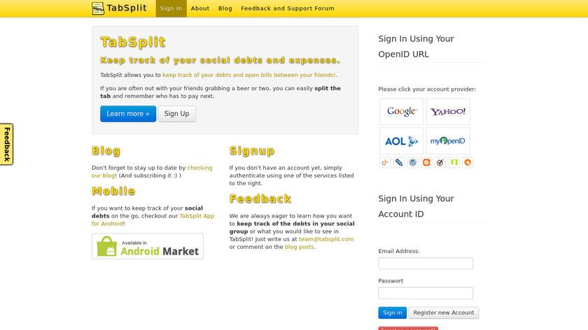 TabSplit Landing Page