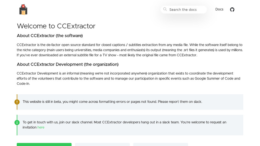 CCExtractor Landing Page