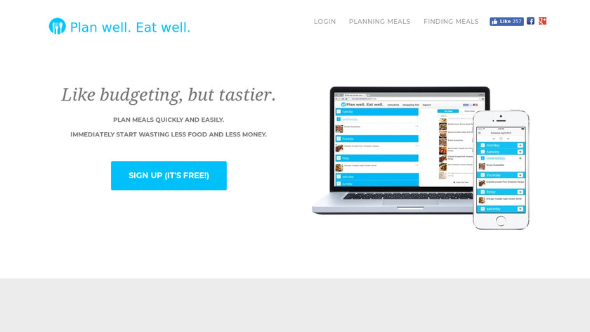 Plan Well Eat Well Landing Page