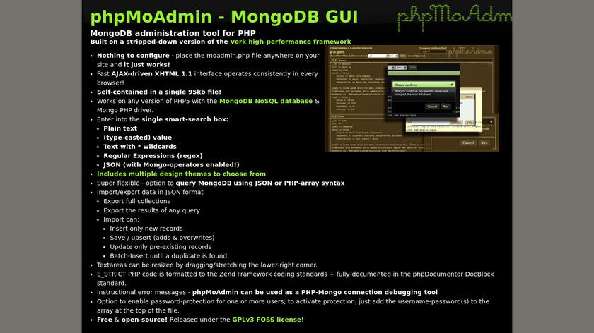 PhpMoAdmin Landing Page