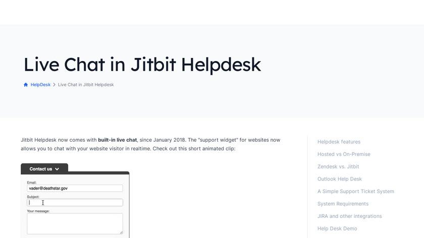 Jitbit Live Chat Landing Page