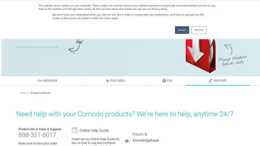 Comodo Programs Manager Landing Page
