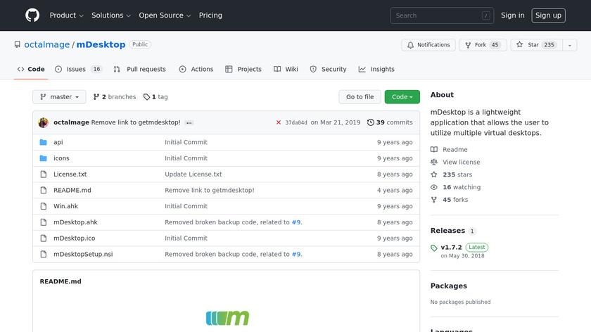 mDesktop Landing Page