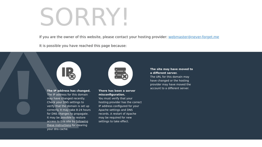 Never-Forget.me Landing Page