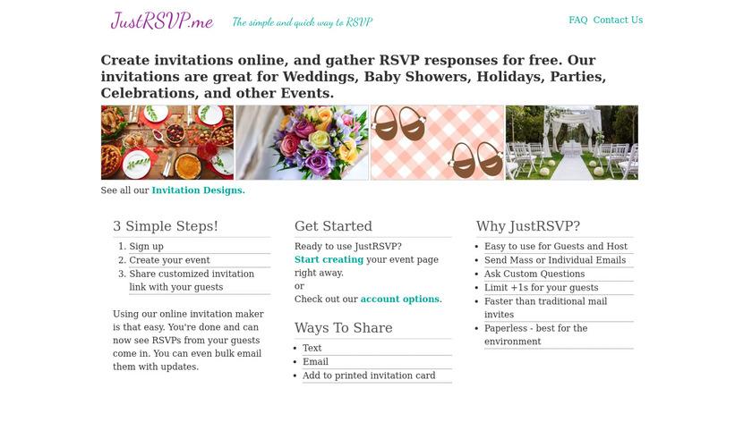 JustRSVP.me Landing Page