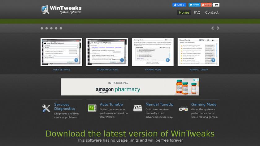WinTweaks Landing Page