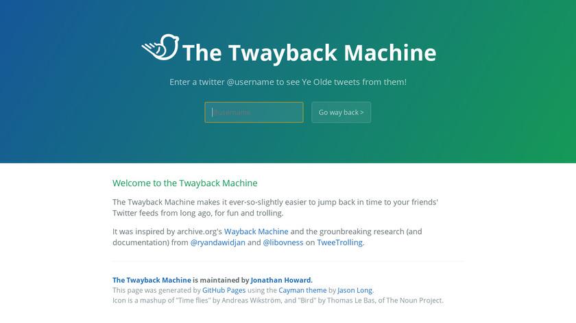 The Twayback Machine Landing Page
