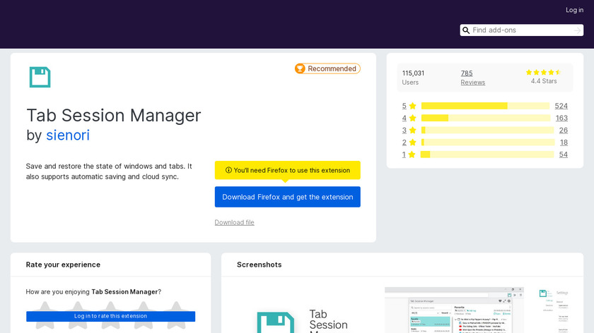 Tab Session Manager Landing Page