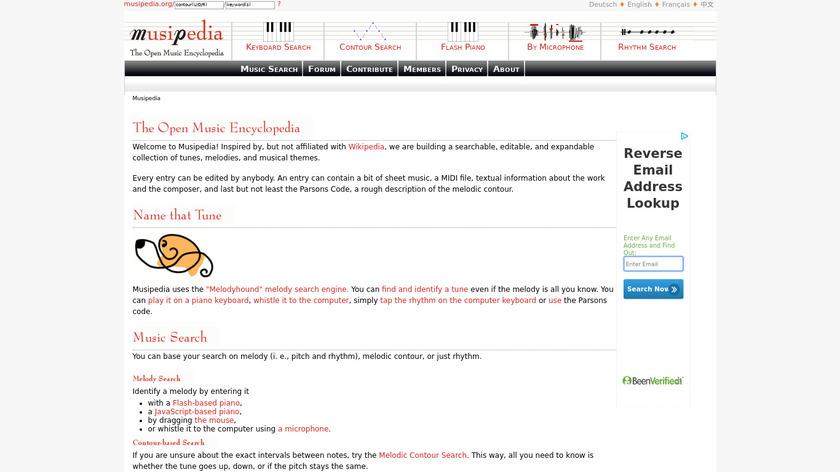 Musipedia Landing Page
