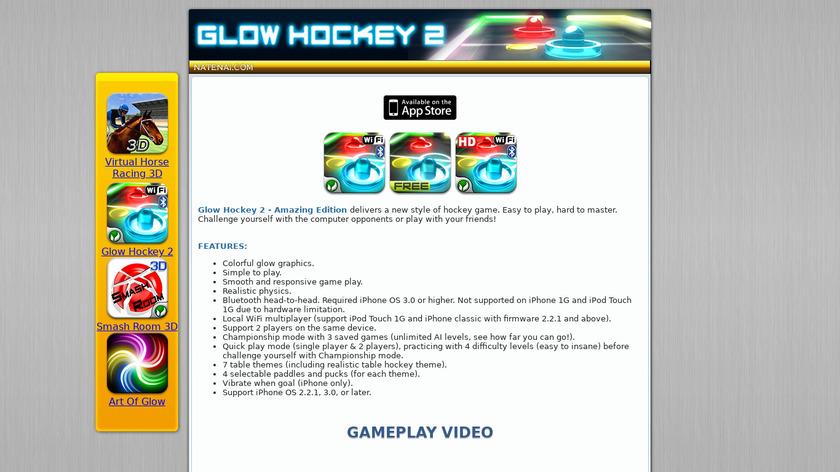 Glow Hockey Landing Page