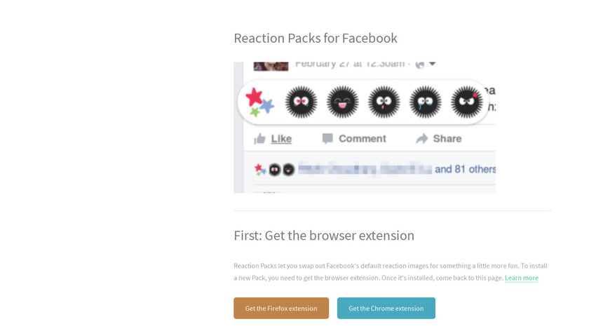 Reaction Packs for Facebook Landing Page