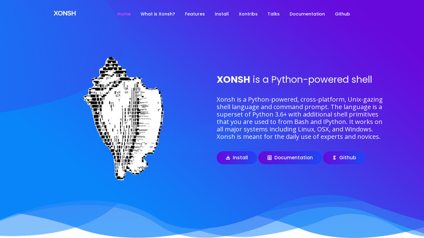 the xonsh shell Landing Page