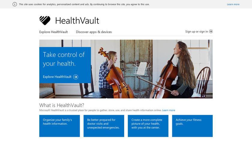 Microsoft HealthVault Landing Page