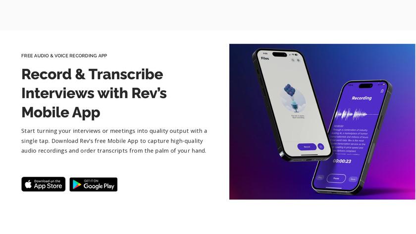 Rev Voice Recorder Landing Page