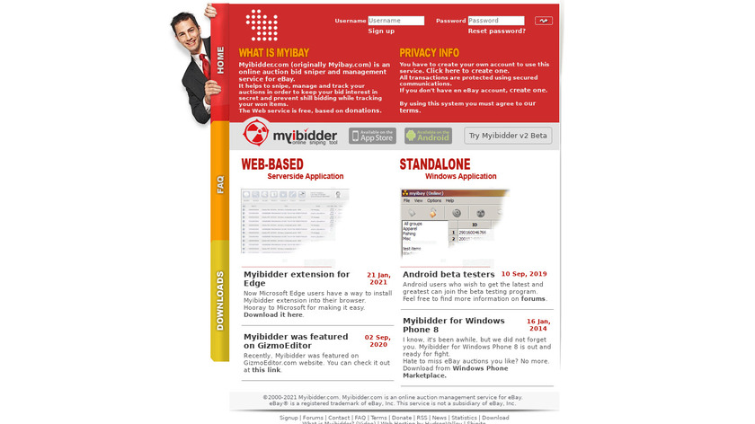 Myibidder Landing Page