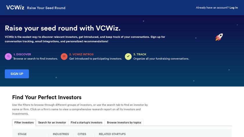 VCWiz.co Landing Page