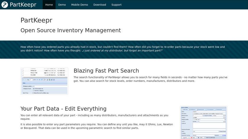 PartKeepr Landing Page