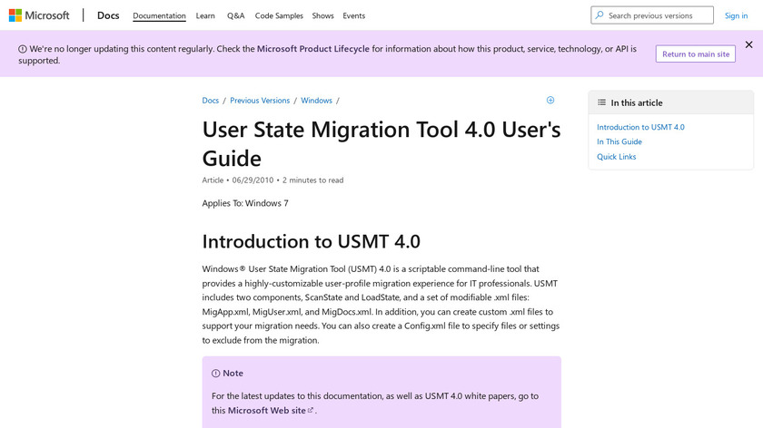 User State Migration Tool Landing Page