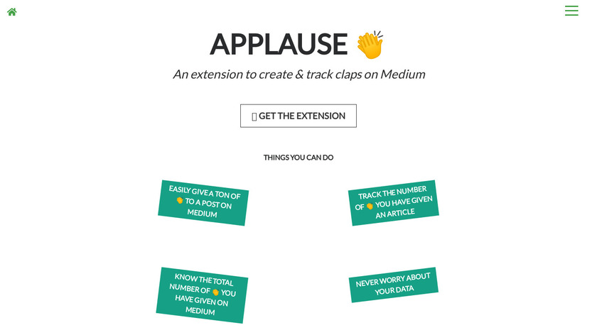 Applause Chrome Extension 👏 Landing Page