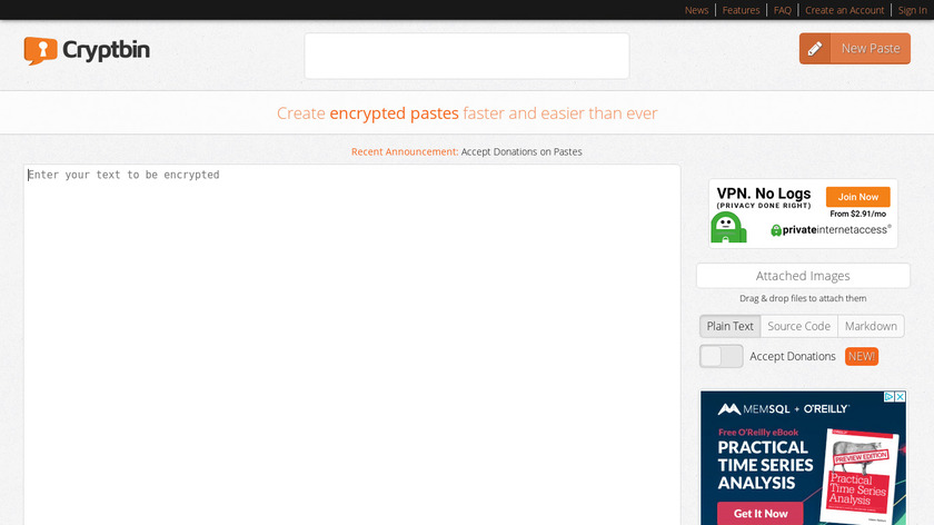 Cryptbin Landing Page