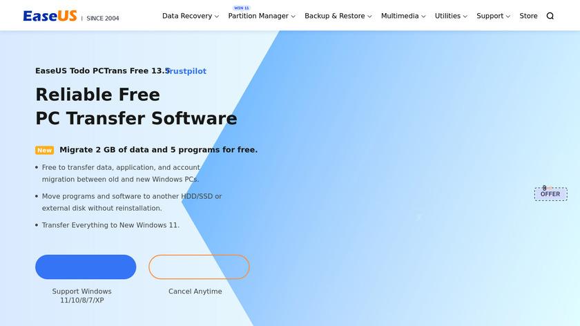 EaseUS Todo PCTrans Landing Page