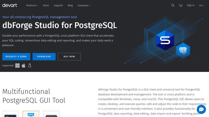 dbForge Studio for PostgreSQL Landing Page