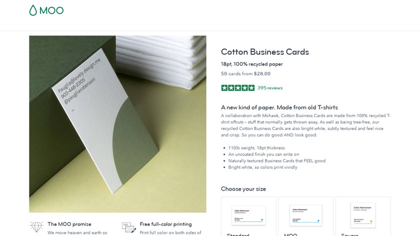 Cotton Business Cards by MOO Landing Page