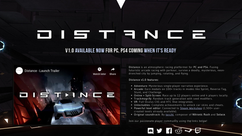 Distance Landing Page
