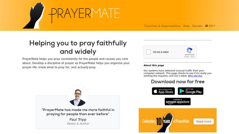 PrayerMate Landing Page