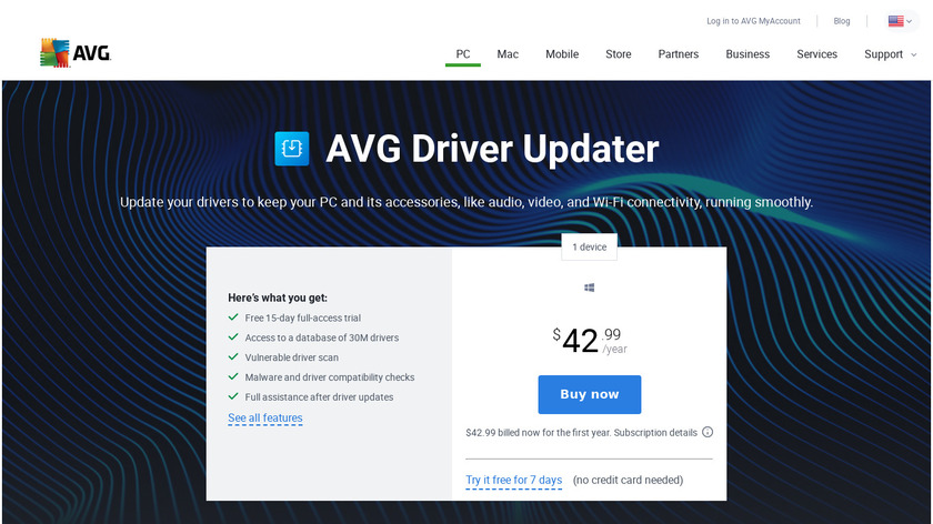 AVG Driver Updater Landing Page